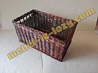 Корзина плетеная для хранения в темном цвете 30*40 с высотой 20 см