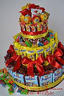 Торт из Барни, шоколадок и конфет. Угощение в садик или школу.