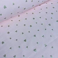 Трикотаж с напылением золотых сердечек на бледно-розовом фоне №0022