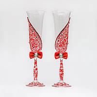Свадебные бокалы в красных тонах с росписью