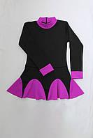 Термоплатье черное с фиолетовыми воланами