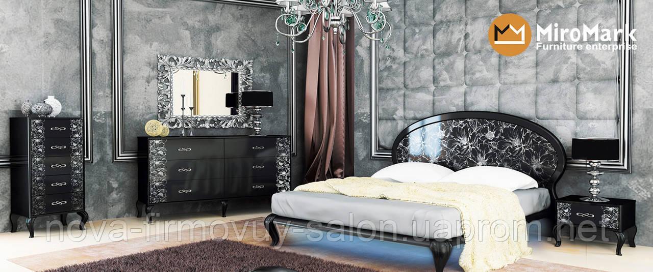 Спальня Піонія глянець чорний-срібло