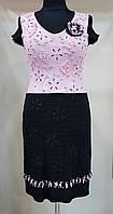 Нарядное платье розово-черное Filippe Carat  (Франция)