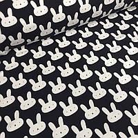 Футер белые зайцы на черном фоне №0023