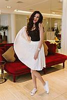 Молодежная расклешенная женская юбка до колен с широким поясом посадка средняя трикотаж масло