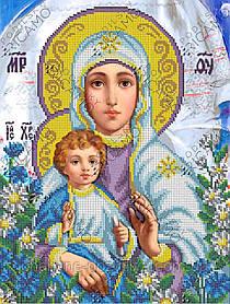 """Схема для вышивки бисером на габардине икона """"Богородица с Иисусом"""""""