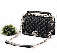 Вечерняя сумка Coco Chanel с цепями в черном цвете