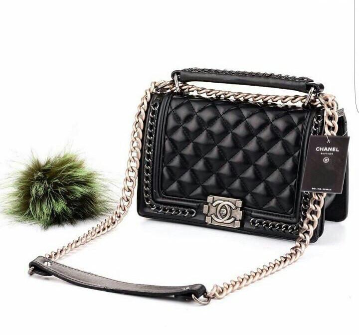 c9419db3eb6f Вечерняя сумка Coco Chanel с цепями в черном цвете - eleganza.com.ua в