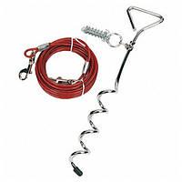 Karlie Flamingo Tie Out Cable КАРЛИ ФЛАМИНГО поводок для собак до 15 кг, металлический трос в пластиковой оплетке и карабинами, 3 м, кол 43 см