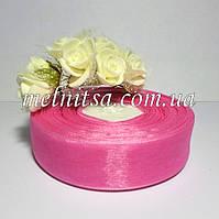 Лента из органзы, 2,5 см, цвет розовый