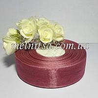 Лента из органзы, 2,5 см, цвет пыльная роза