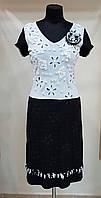 Нарядное платье черно-белое трикотажное Filippe Carat (Франция)