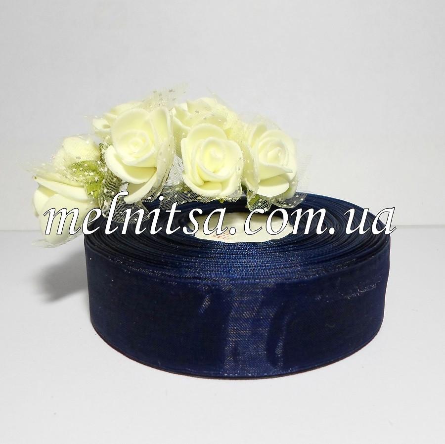 Лента из органзы, 2,5 см, цвет т.синий