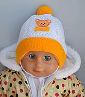 Детская шапка Арктик Мишка, двойная весна/осень, р. 40-42. голубой, розовый, бел+голубой, бел+розовый, олива