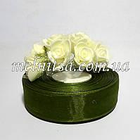 Лента из органзы, 2,5 см, цвет травяной