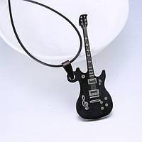 Кулон Гитара черная на веревке