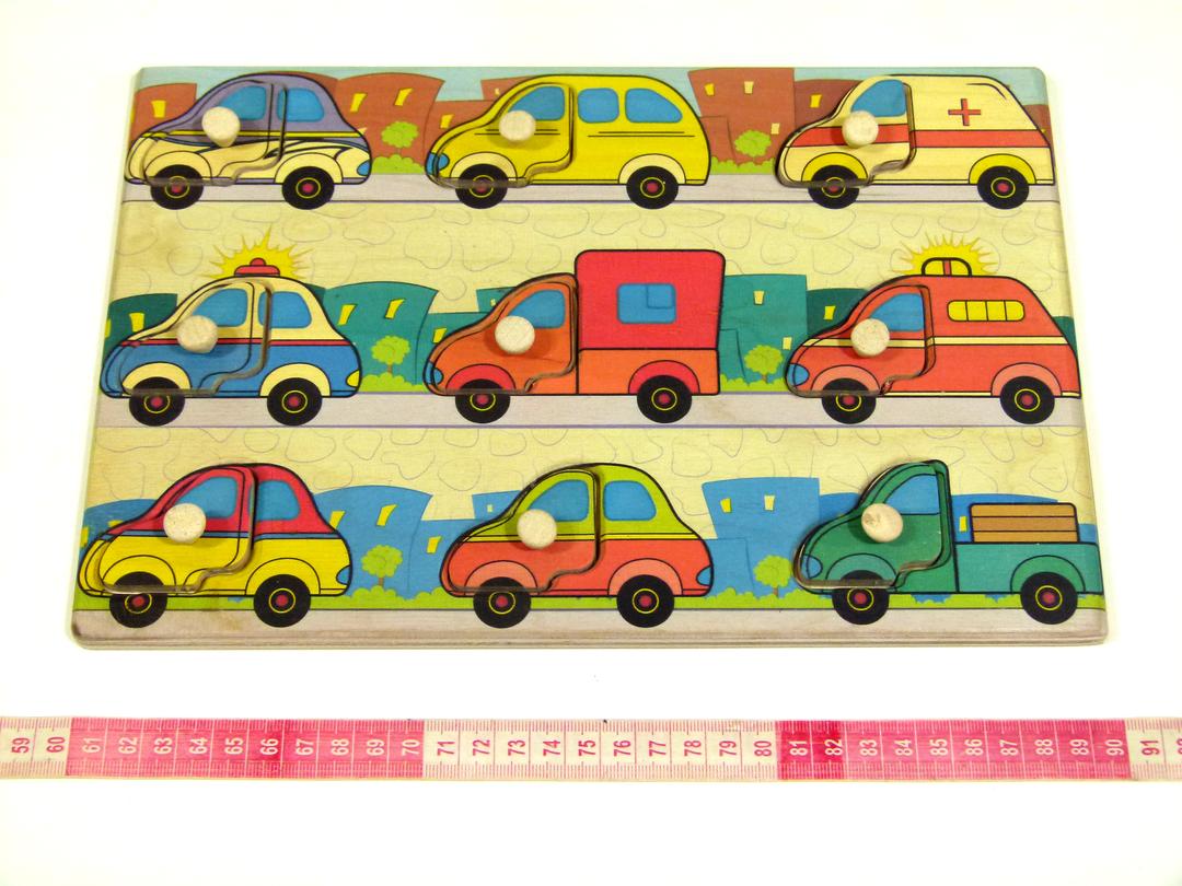 Дерев'яна рамка-вкладиш Монтессорі Машинки Підбери Дверцята Розумний лис (90028)