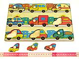 Дерев'яна рамка-вкладиш Монтессорі Машинки Підбери Дверцята Розумний лис (90028), фото 2