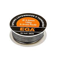 Припой з каніфоллю 100г  2,0 мм  EGA