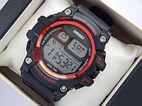 Мужские (женские) спортивные наручные часы Skmei черного цвета с красными вставками