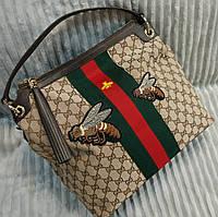 Повседневная женская сумка Гуччи с пчелой бежевая