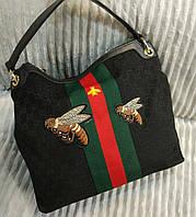 Оригинальная женская сумка Гуччи с пчелой в черном цвете