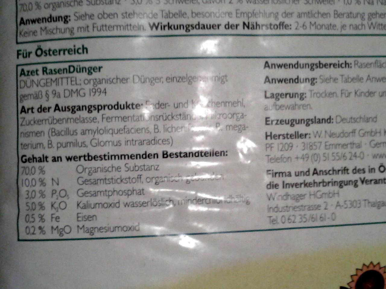 органическое удобрения газоной травы 12 кг Neu Dorff германия