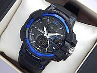 Мужские (женские) спортивные наручные часы Skmei черного цвета с синими вставками и со стрелками