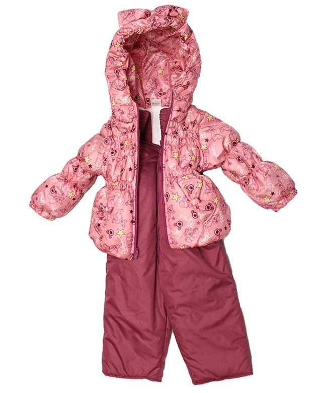 Костюм демісезонний Крихта Baby рожевий Ведмедик на флісі