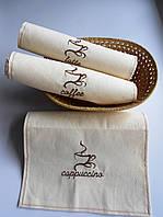 Кофейный набор.Лен. 3 полотенца для кухни