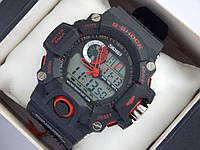 Мужские (женские) спортивные наручные часы Skmei черного цвета с красными вставками, со стрелками, фото 1