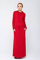 Платье длинное приталенное Имма красное