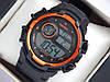 Мужские (женские) спортивные наручные часы Skmei черного цвета с оранжевыми вставками