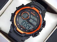 Мужские (женские) спортивные наручные часы Skmei черного цвета с оранжевыми вставками, фото 1