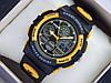 Мужские (женские) спортивные наручные часы Skmei черного цвета с желтыми вставками, со стрелками
