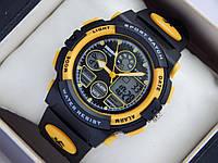 Мужские (женские) спортивные наручные часы Skmei черного цвета с желтыми вставками, со стрелками, фото 1