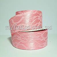 Лента атласная с гипюром, 4 см, цвет розовый