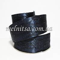 Лента атласная с гипюром, 4 см, цвет т.синий