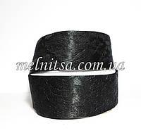 Лента атласная с гипюром, 4 см, цвет черный