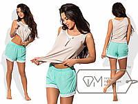 Пижама женская бежевая с ментоловыми шортами UD/-06990