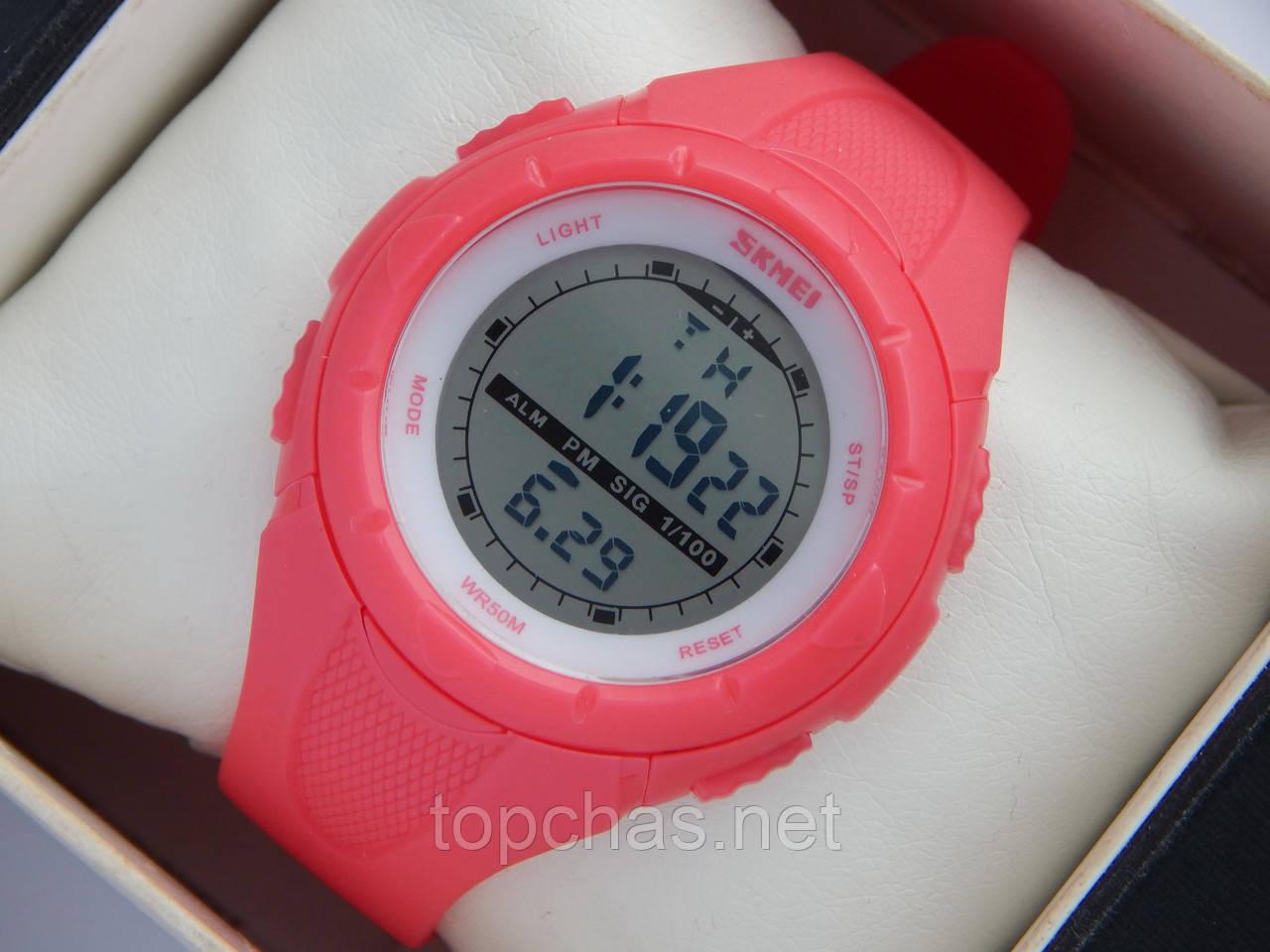 Мужские (женские) спортивные наручные часы Skmei розового цвета, фото 1