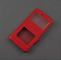 Чехол книжка для Xiaomi Redmi 4A красный 2 окошка