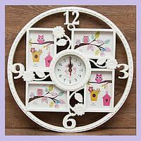 Часы настенные - фоторамка на 4 фото. Диаметр 46 см. Фоторамка 10 х 15 см.