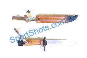 Штык нож АКМ 6х4 Макет массогабаритный (ручка-прямоугольный бакелит, ножна-бакелит)
