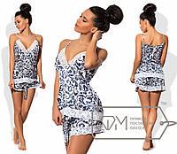 Пижама женская белая с синим узором UD/-06989