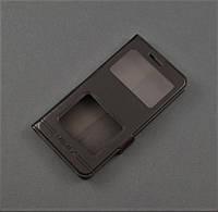 Чехол книжка для Xiaomi Redmi 4A черный 2 окошка