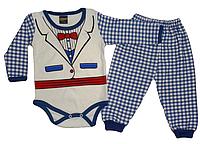 Комплект ясельный Маленький мистер (штаны, боди) синий Турция