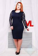 Платье VP01 синий/гипюр