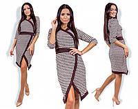 """Элегантное женское коричневое платье """"Угол"""" (35-839)"""