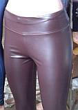 Лосины женские, кожзам, ростовкой оптом, размеры S M L XL, №539-19